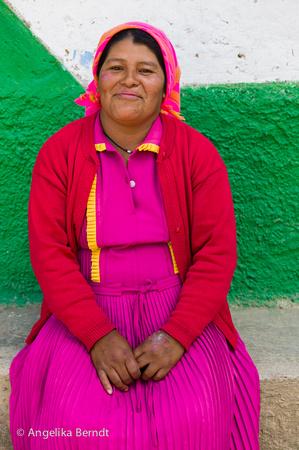 Lenca indigenous woman in traditional dress, Honduras.
